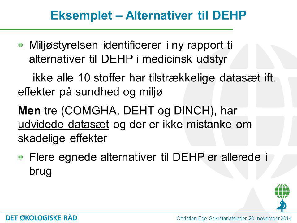 Miljøstyrelsen identificerer i ny rapport ti alternativer til DEHP i medicinsk udstyr ikke alle 10 stoffer har tilstrækkelige datasæt ift.