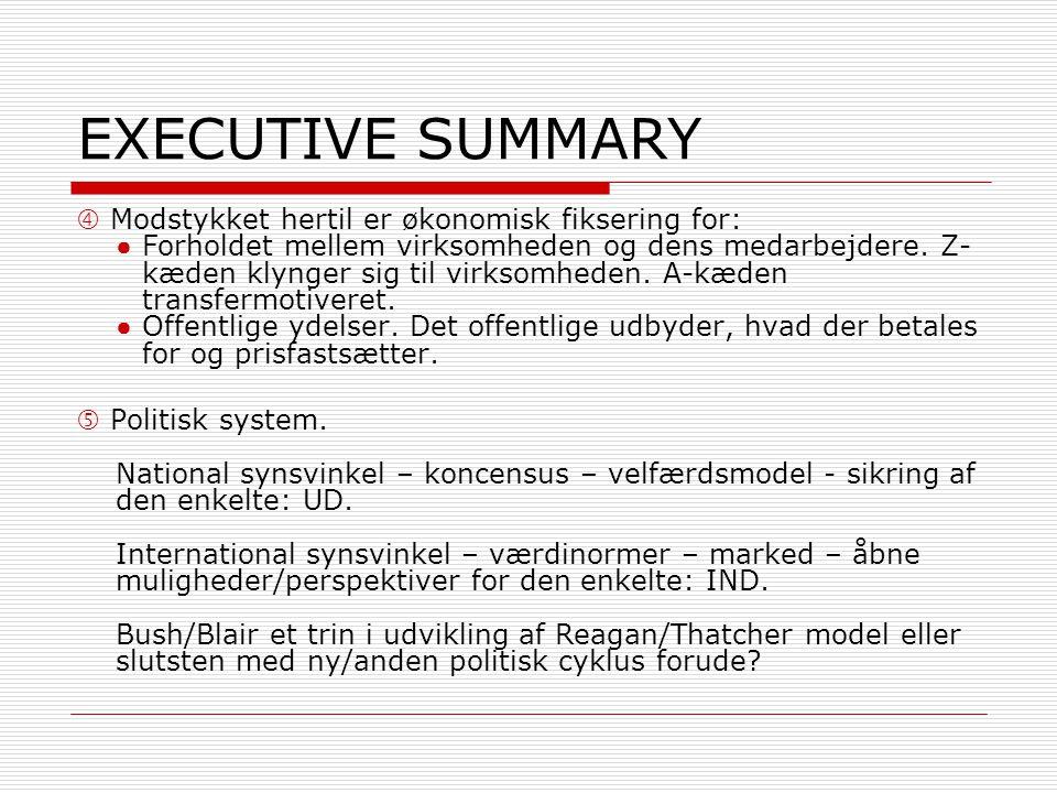 EXECUTIVE SUMMARY  Modstykket hertil er økonomisk fiksering for: ●Forholdet mellem virksomheden og dens medarbejdere.