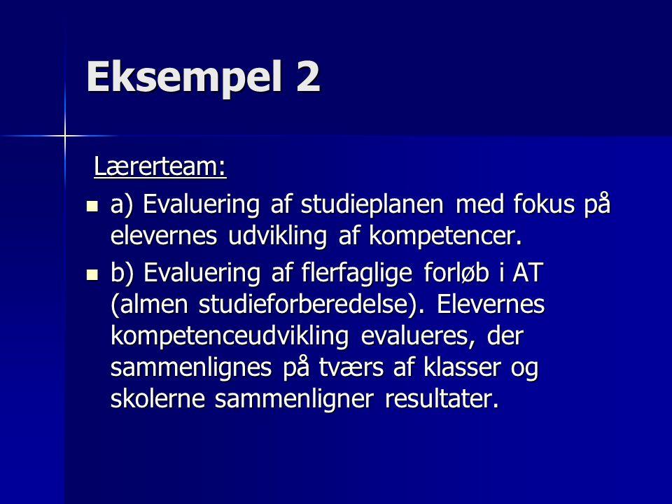 Eksempel 2 Lærerteam: Lærerteam: a) Evaluering af studieplanen med fokus på elevernes udvikling af kompetencer.