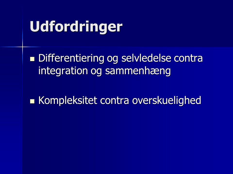 Udfordringer Differentiering og selvledelse contra integration og sammenhæng Differentiering og selvledelse contra integration og sammenhæng Kompleksitet contra overskuelighed Kompleksitet contra overskuelighed