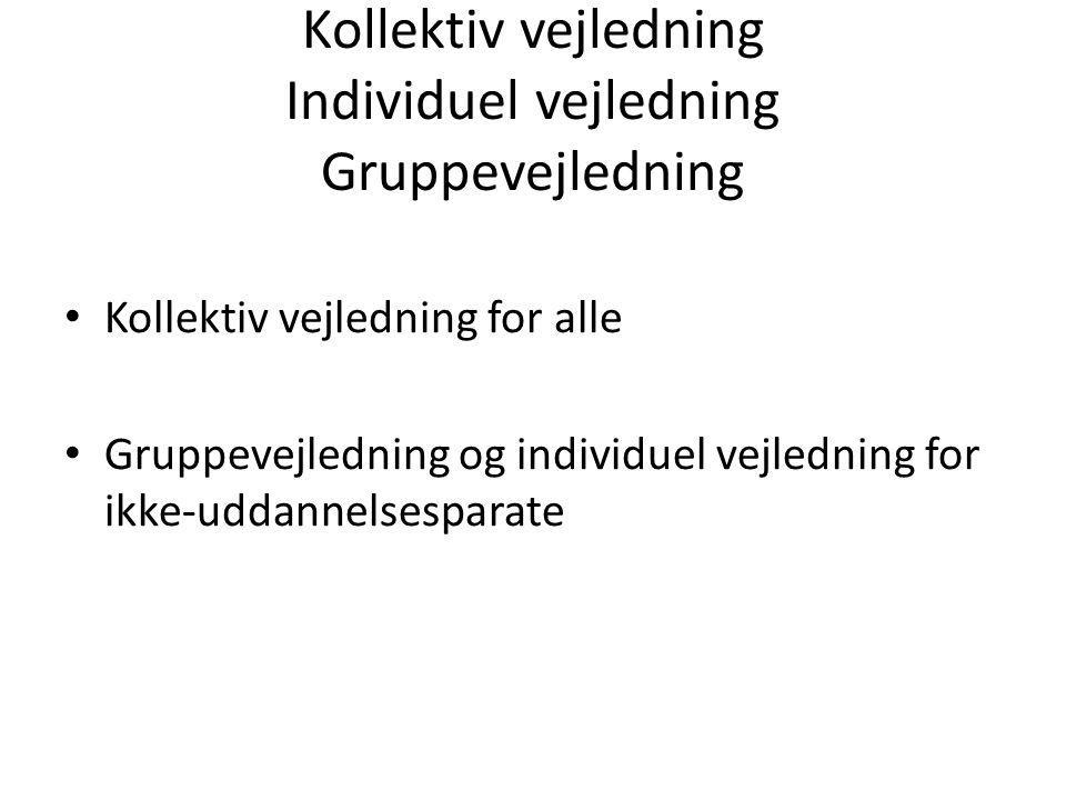 Kollektiv vejledning Individuel vejledning Gruppevejledning Kollektiv vejledning for alle Gruppevejledning og individuel vejledning for ikke-uddannelsesparate