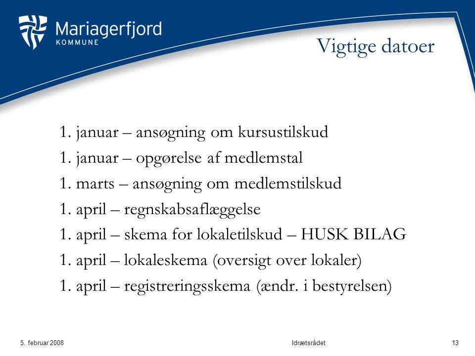 5. februar 2008Idrætsrådet13 Vigtige datoer 1. januar – ansøgning om kursustilskud 1.