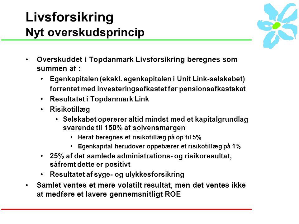 Livsforsikring Nyt overskudsprincip Overskuddet i Topdanmark Livsforsikring beregnes som summen af : Egenkapitalen (ekskl.