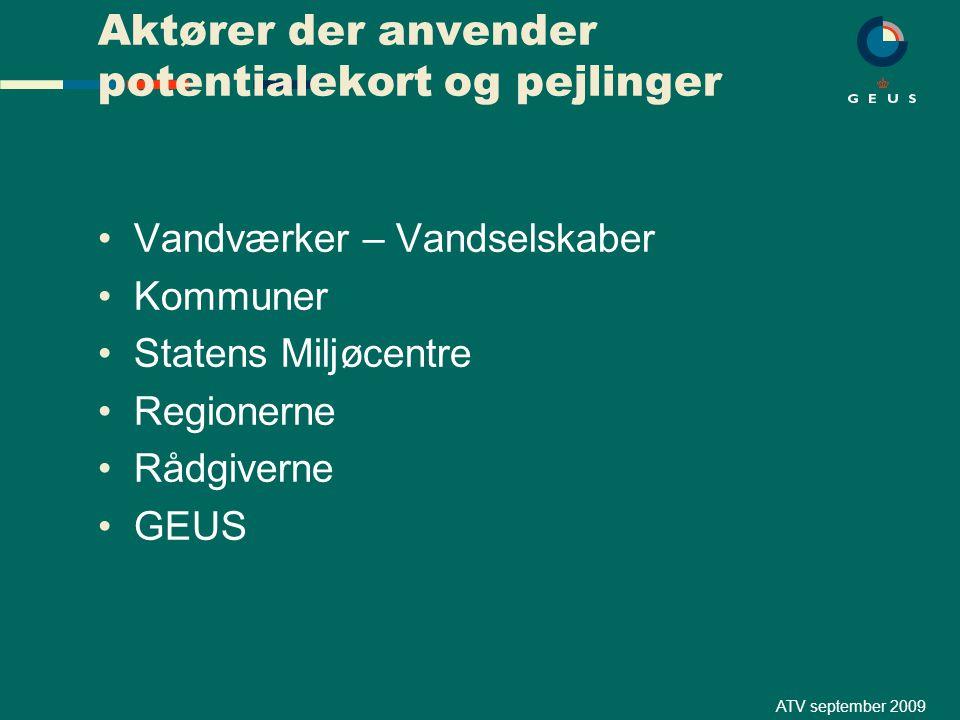 ATV september 2009 Aktører der anvender potentialekort og pejlinger Vandværker – Vandselskaber Kommuner Statens Miljøcentre Regionerne Rådgiverne GEUS