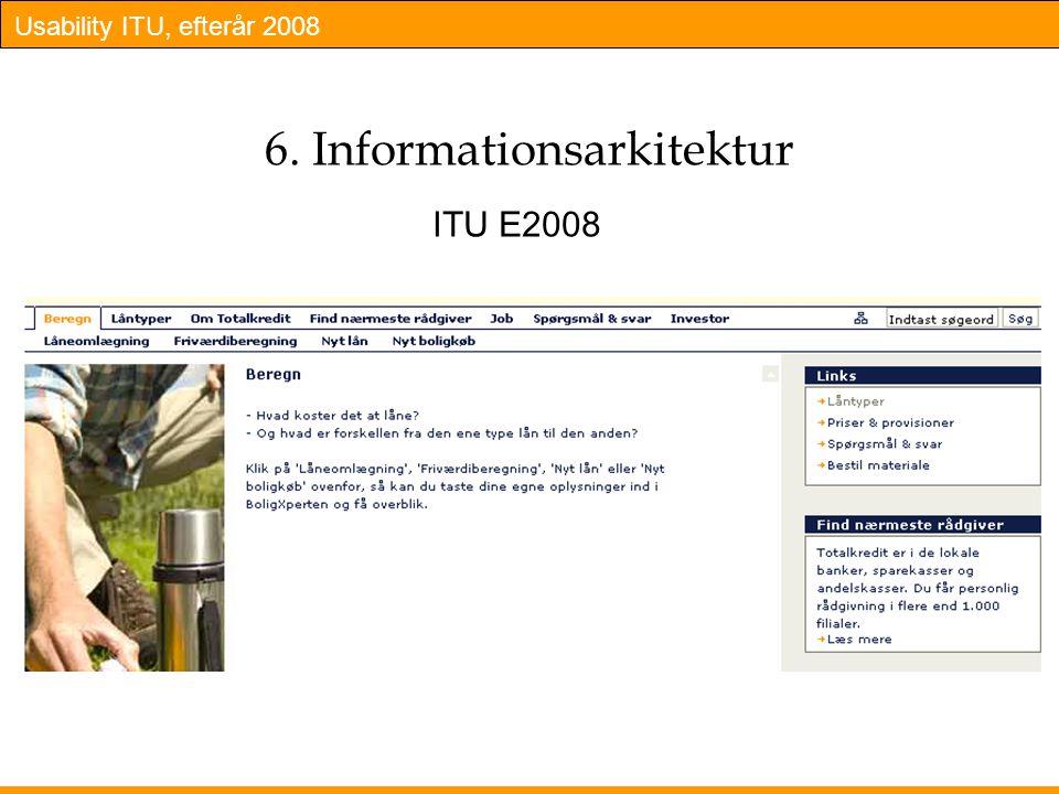 Usability ITU, efterår 2008 6. Informationsarkitektur ITU E2008