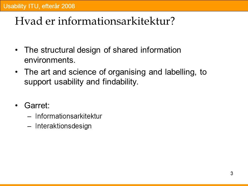 Usability ITU, efterår 2008 3 Hvad er informationsarkitektur.