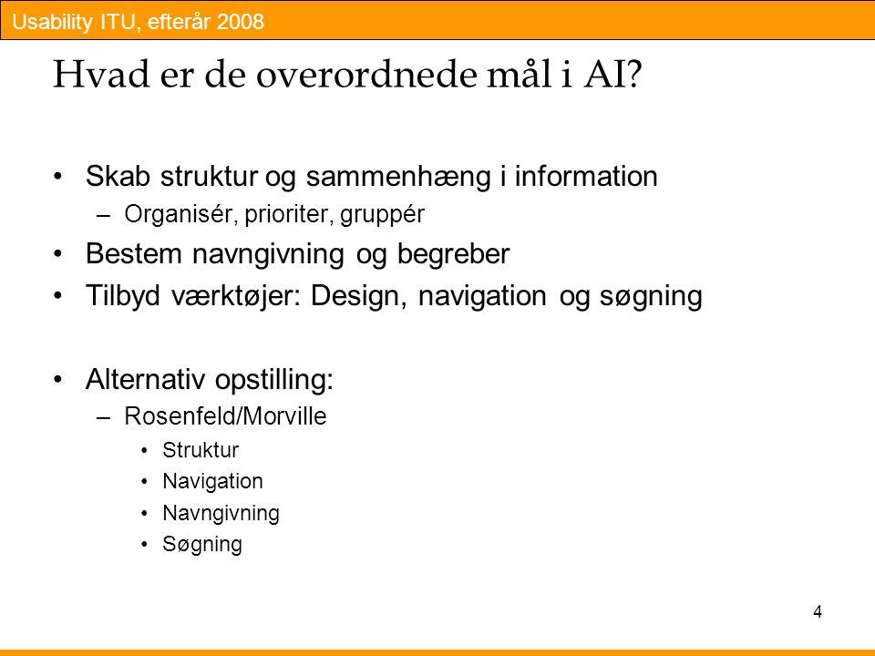 Usability ITU, efterår 2008 4 Hvad er de overordnede mål i AI.