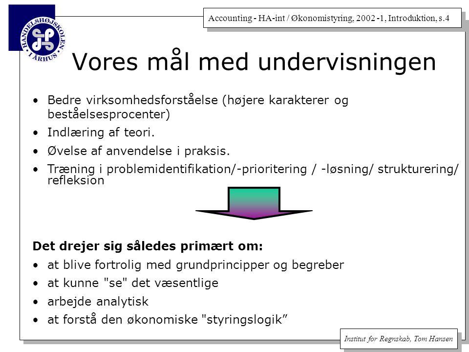 Accounting - HA-int / Økonomistyring, 2002 -1, Introduktion, s.4 Institut for Regnskab, Tom Hansen Vores mål med undervisningen Bedre virksomhedsforståelse (højere karakterer og beståelsesprocenter) Indlæring af teori.