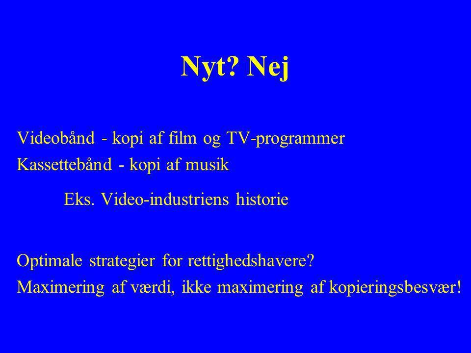 Nyt. Nej Videobånd - kopi af film og TV-programmer Kassettebånd - kopi af musik Eks.