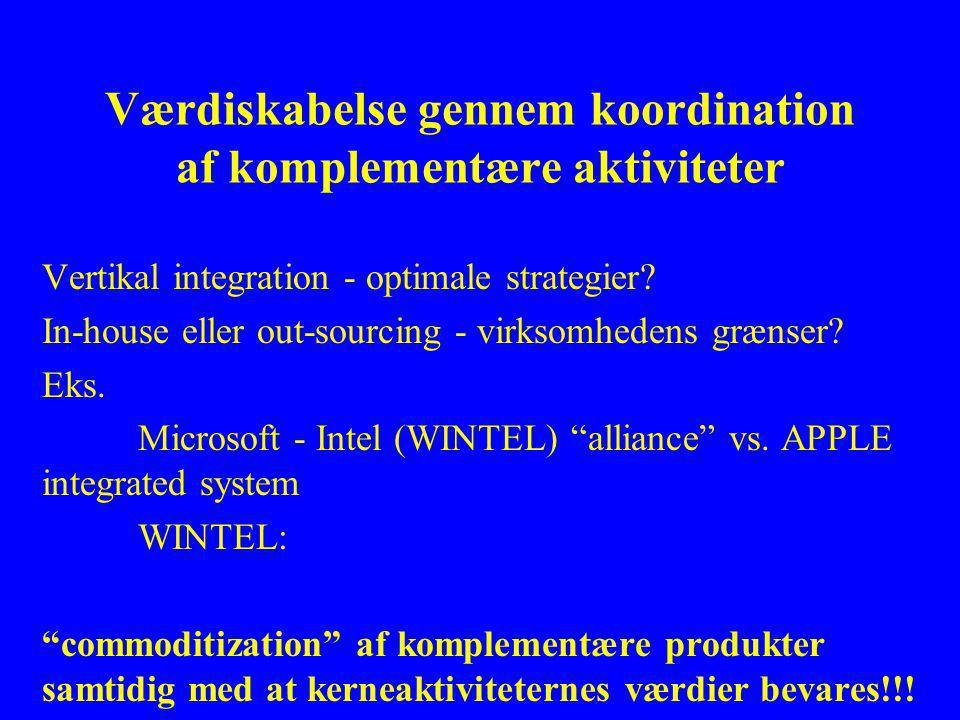 Værdiskabelse gennem koordination af komplementære aktiviteter Vertikal integration - optimale strategier.