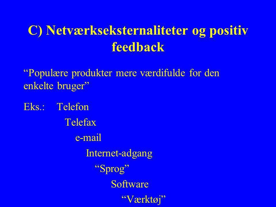 C) Netværkseksternaliteter og positiv feedback Populære produkter mere værdifulde for den enkelte bruger Eks.: Telefon Telefax e-mail Internet-adgang Sprog Software Værktøj
