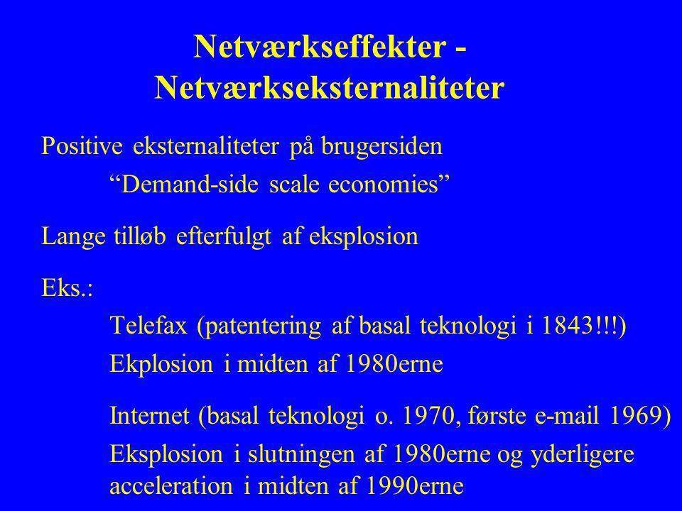 Netværkseffekter - Netværkseksternaliteter Positive eksternaliteter på brugersiden Demand-side scale economies Lange tilløb efterfulgt af eksplosion Eks.: Telefax (patentering af basal teknologi i 1843!!!) Ekplosion i midten af 1980erne Internet (basal teknologi o.