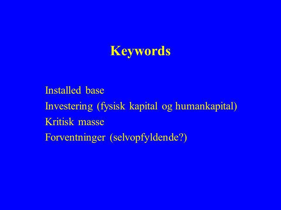 Keywords Installed base Investering (fysisk kapital og humankapital) Kritisk masse Forventninger (selvopfyldende )