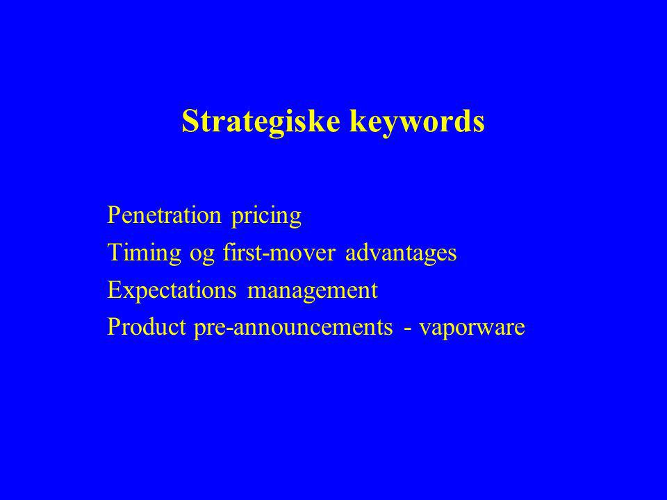 Strategiske keywords Penetration pricing Timing og first-mover advantages Expectations management Product pre-announcements - vaporware