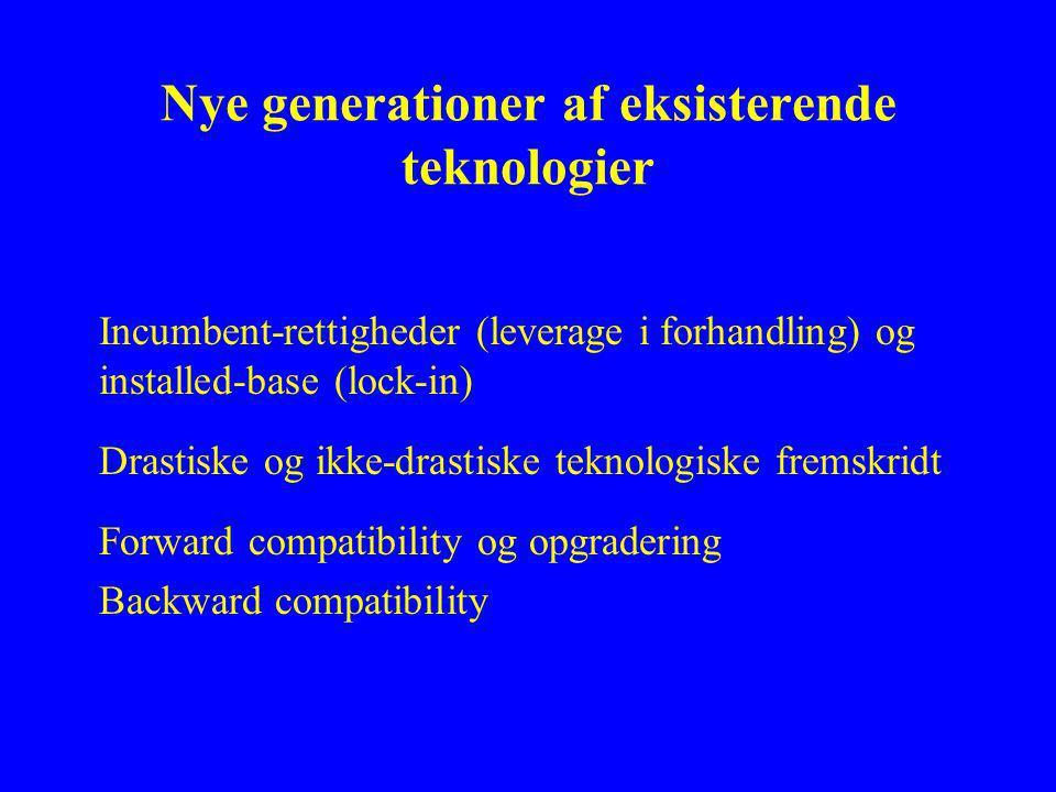 Nye generationer af eksisterende teknologier Incumbent-rettigheder (leverage i forhandling) og installed-base (lock-in) Drastiske og ikke-drastiske teknologiske fremskridt Forward compatibility og opgradering Backward compatibility