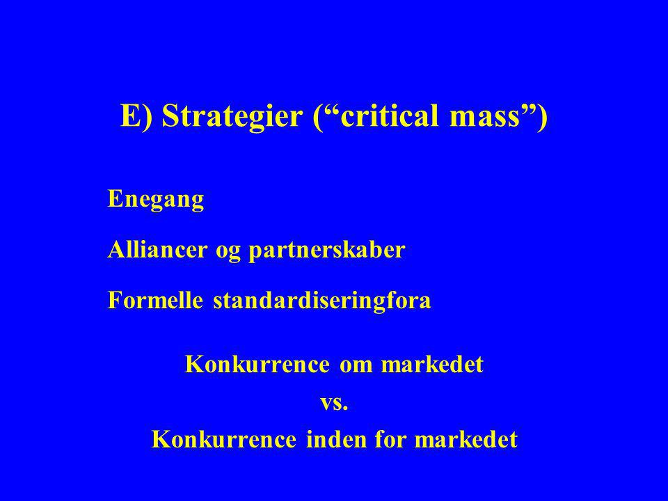 E) Strategier ( critical mass ) Enegang Alliancer og partnerskaber Formelle standardiseringfora Konkurrence om markedet vs.