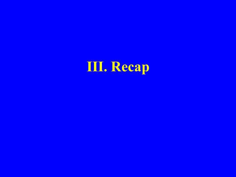 III. Recap