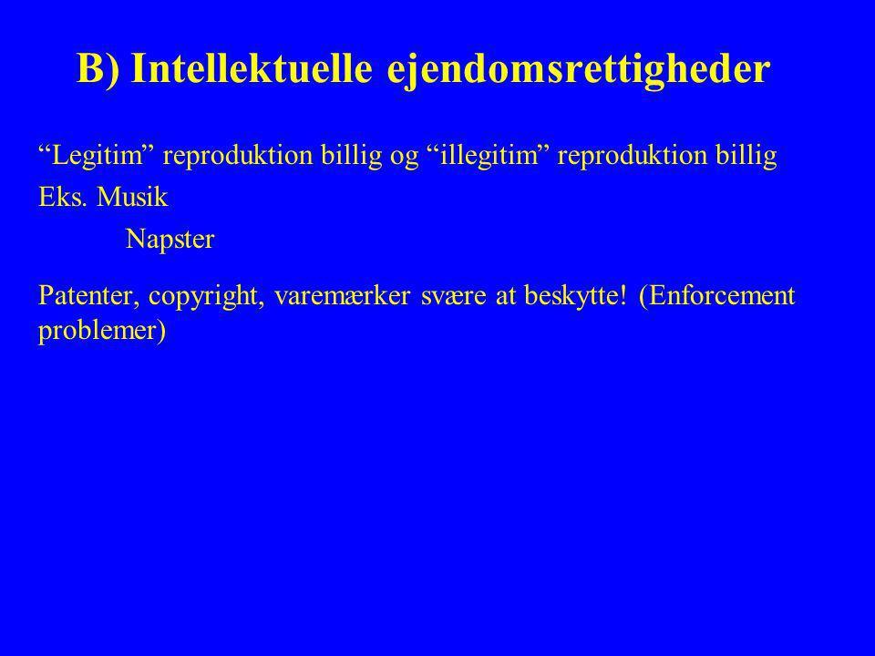 B) Intellektuelle ejendomsrettigheder Legitim reproduktion billig og illegitim reproduktion billig Eks.