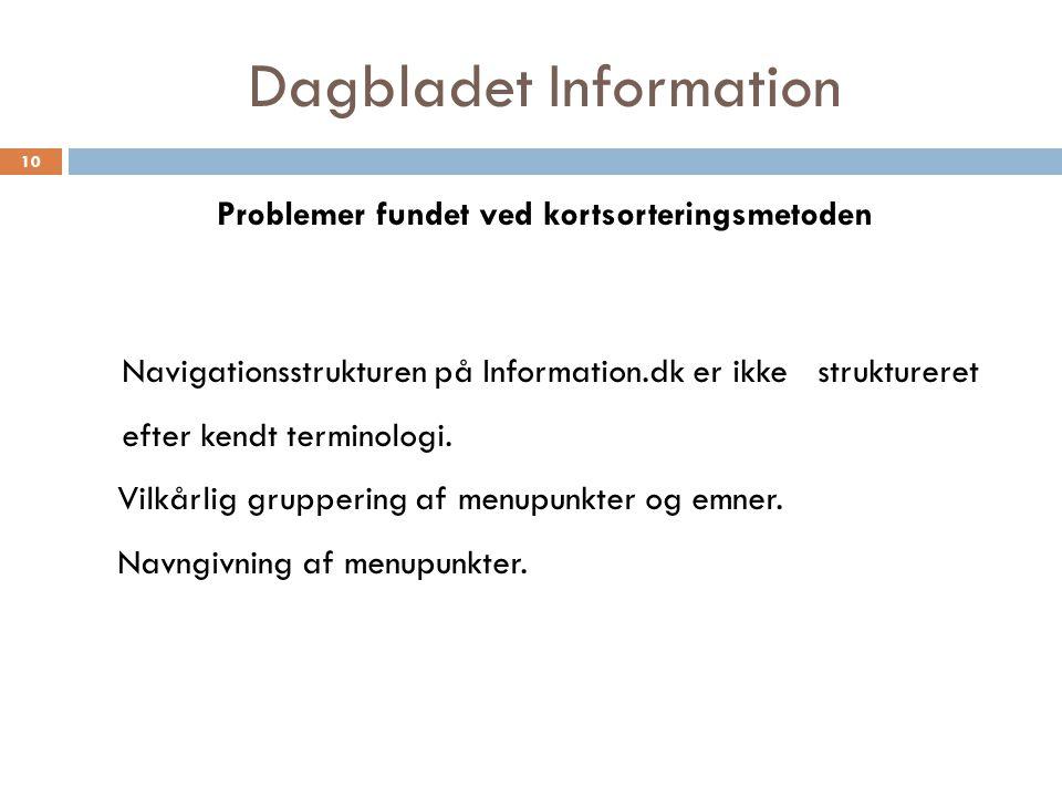 Dagbladet Information Problemer fundet ved kortsorteringsmetoden 10 Navigationsstrukturen på Information.dk er ikke struktureret efter kendt terminologi.