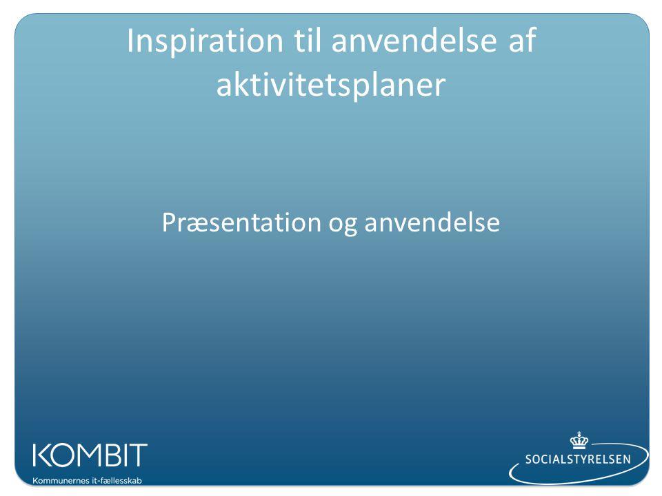 Inspiration til anvendelse af aktivitetsplaner Præsentation og anvendelse