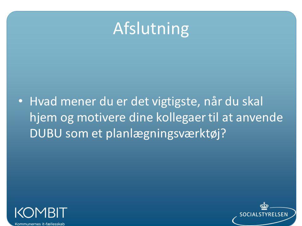 Afslutning Hvad mener du er det vigtigste, når du skal hjem og motivere dine kollegaer til at anvende DUBU som et planlægningsværktøj