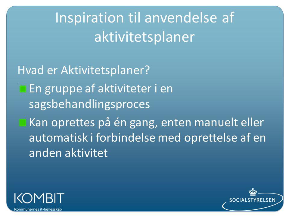 Inspiration til anvendelse af aktivitetsplaner Hvad er Aktivitetsplaner.