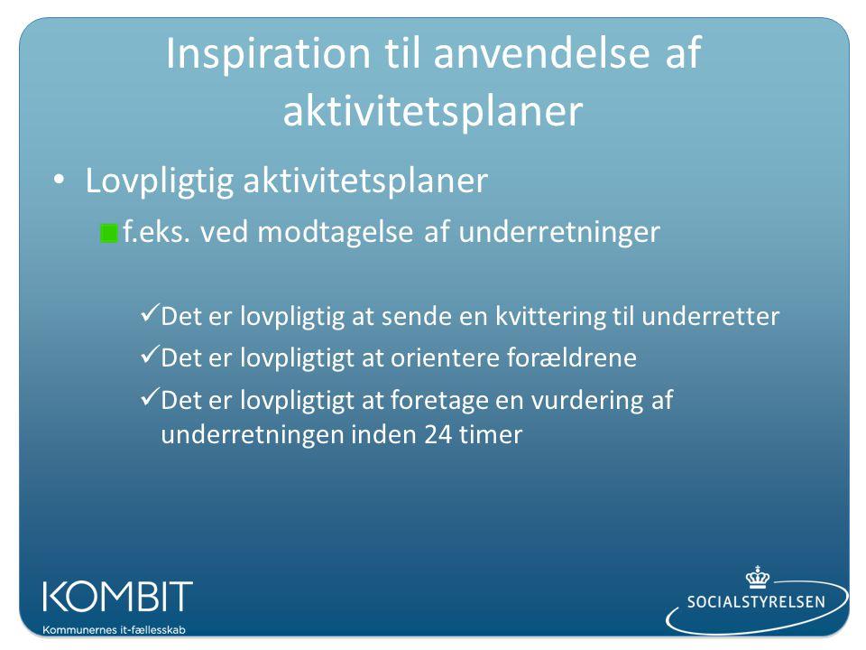 Inspiration til anvendelse af aktivitetsplaner Lovpligtig aktivitetsplaner f.eks.