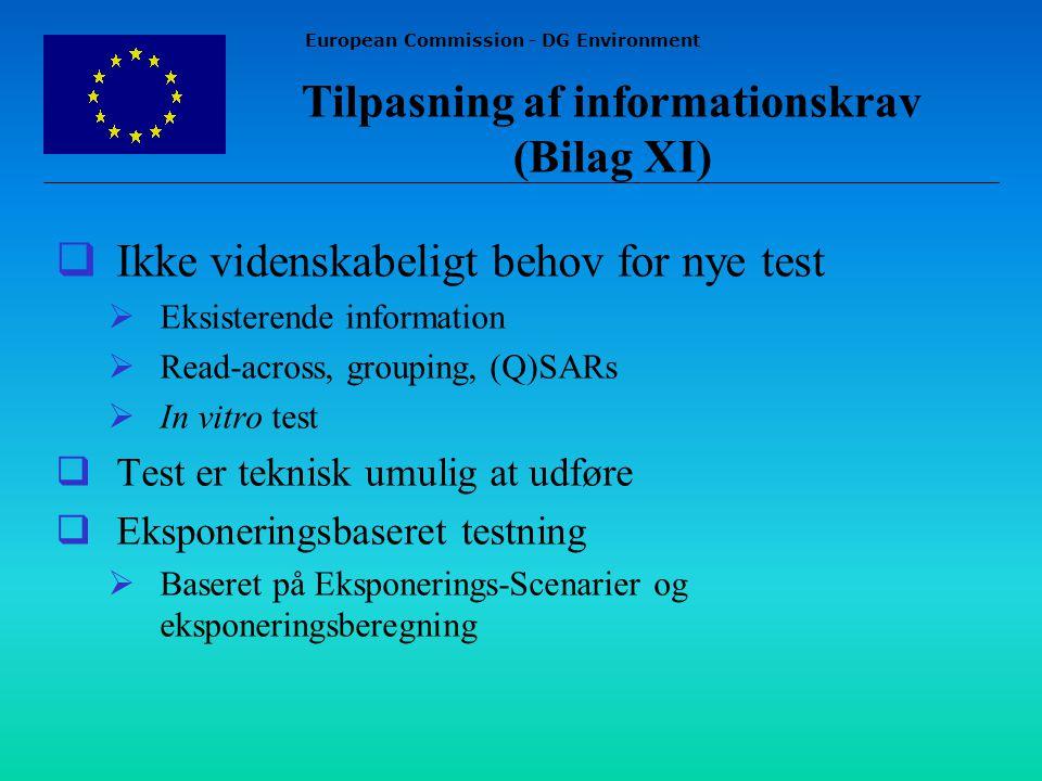 European Commission - DG Environment  Ikke videnskabeligt behov for nye test  Eksisterende information  Read-across, grouping, (Q)SARs  In vitro test  Test er teknisk umulig at udføre  Eksponeringsbaseret testning  Baseret på Eksponerings-Scenarier og eksponeringsberegning Tilpasning af informationskrav (Bilag XI)