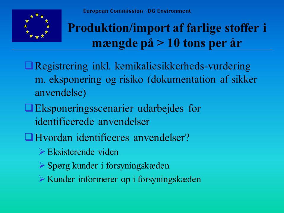 European Commission - DG Environment Produktion/import af farlige stoffer i mængde på > 10 tons per år  Registrering inkl.