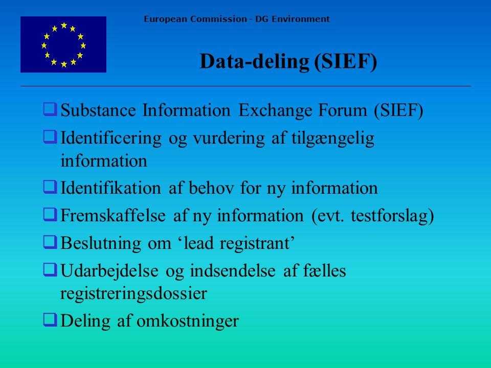 European Commission - DG Environment Data-deling (SIEF)  Substance Information Exchange Forum (SIEF)  Identificering og vurdering af tilgængelig information  Identifikation af behov for ny information  Fremskaffelse af ny information (evt.