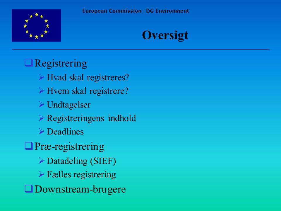 European Commission - DG Environment Oversigt  Registrering  Hvad skal registreres.