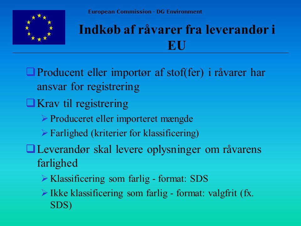 European Commission - DG Environment Indkøb af råvarer fra leverandør i EU  Producent eller importør af stof(fer) i råvarer har ansvar for registrering  Krav til registrering  Produceret eller importeret mængde  Farlighed (kriterier for klassificering)  Leverandør skal levere oplysninger om råvarens farlighed  Klassificering som farlig - format: SDS  Ikke klassificering som farlig - format: valgfrit (fx.