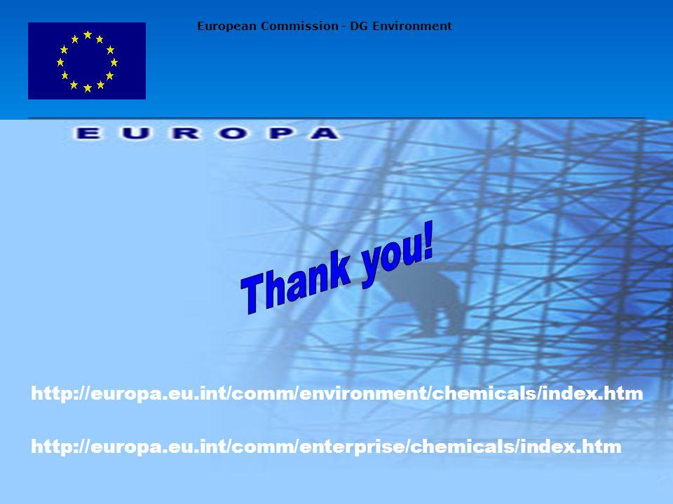 European Commission - DG Environment http://europa.eu.int/comm/enterprise/chemicals/index.htm http://europa.eu.int/comm/environment/chemicals/index.htm