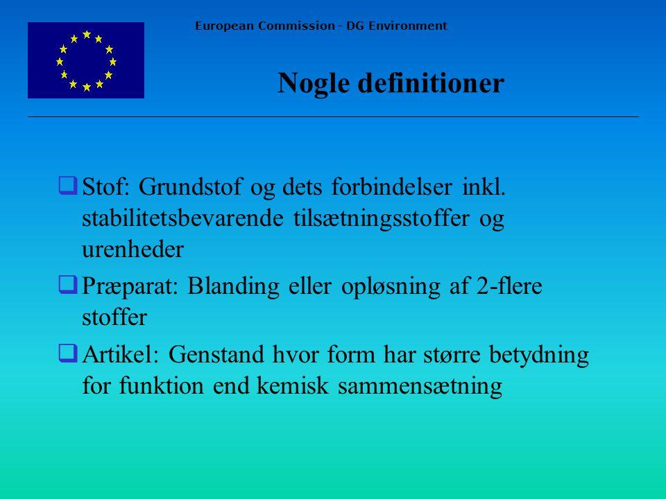 European Commission - DG Environment Nogle definitioner  Stof: Grundstof og dets forbindelser inkl.