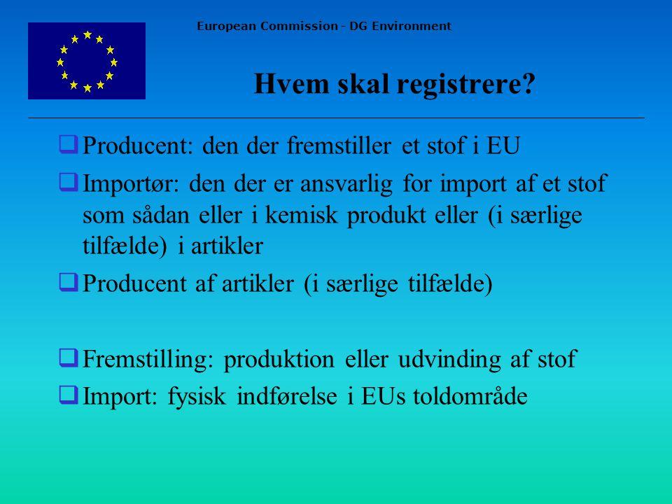 European Commission - DG Environment Hvem skal registrere.