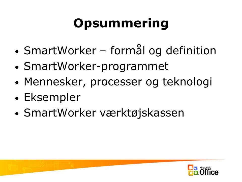Opsummering SmartWorker – formål og definition SmartWorker-programmet Mennesker, processer og teknologi Eksempler SmartWorker værktøjskassen