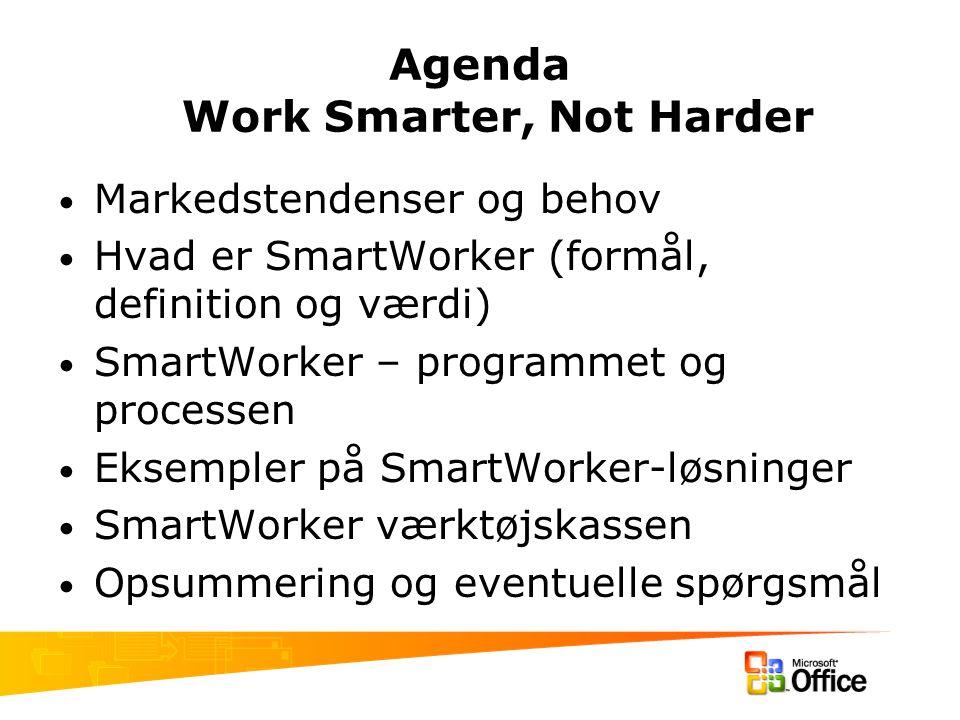 Agenda Work Smarter, Not Harder Markedstendenser og behov Hvad er SmartWorker (formål, definition og værdi) SmartWorker – programmet og processen Eksempler på SmartWorker-løsninger SmartWorker værktøjskassen Opsummering og eventuelle spørgsmål