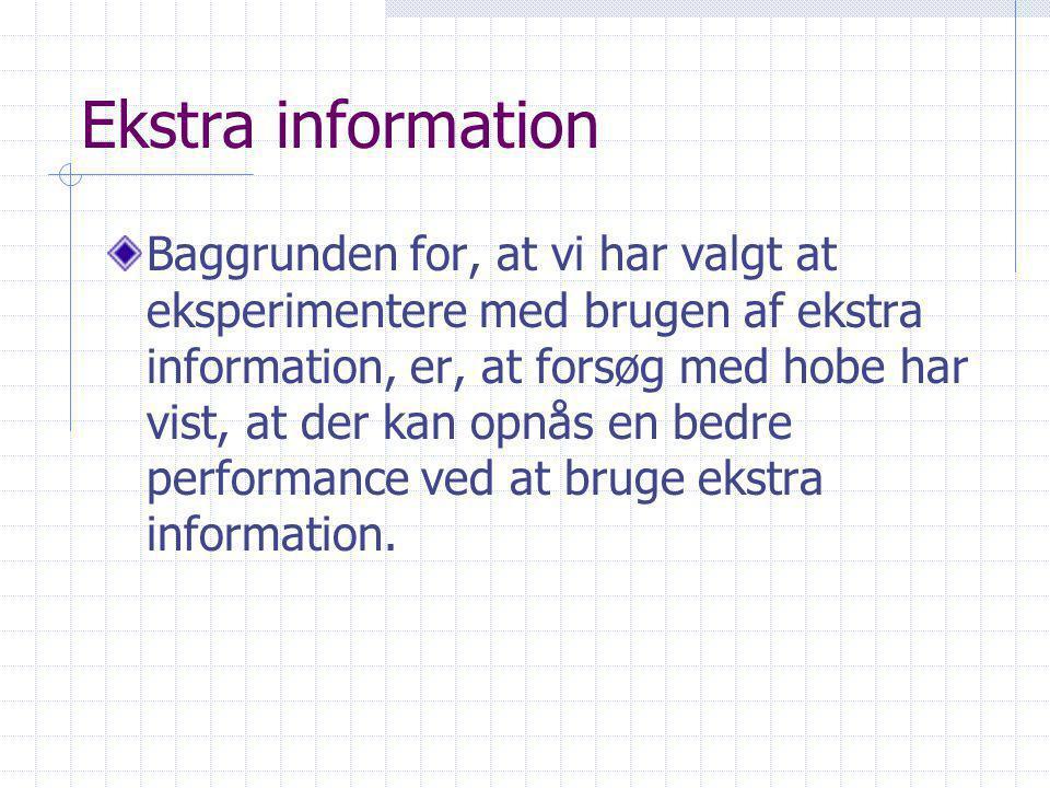 Ekstra information Baggrunden for, at vi har valgt at eksperimentere med brugen af ekstra information, er, at forsøg med hobe har vist, at der kan opnås en bedre performance ved at bruge ekstra information.