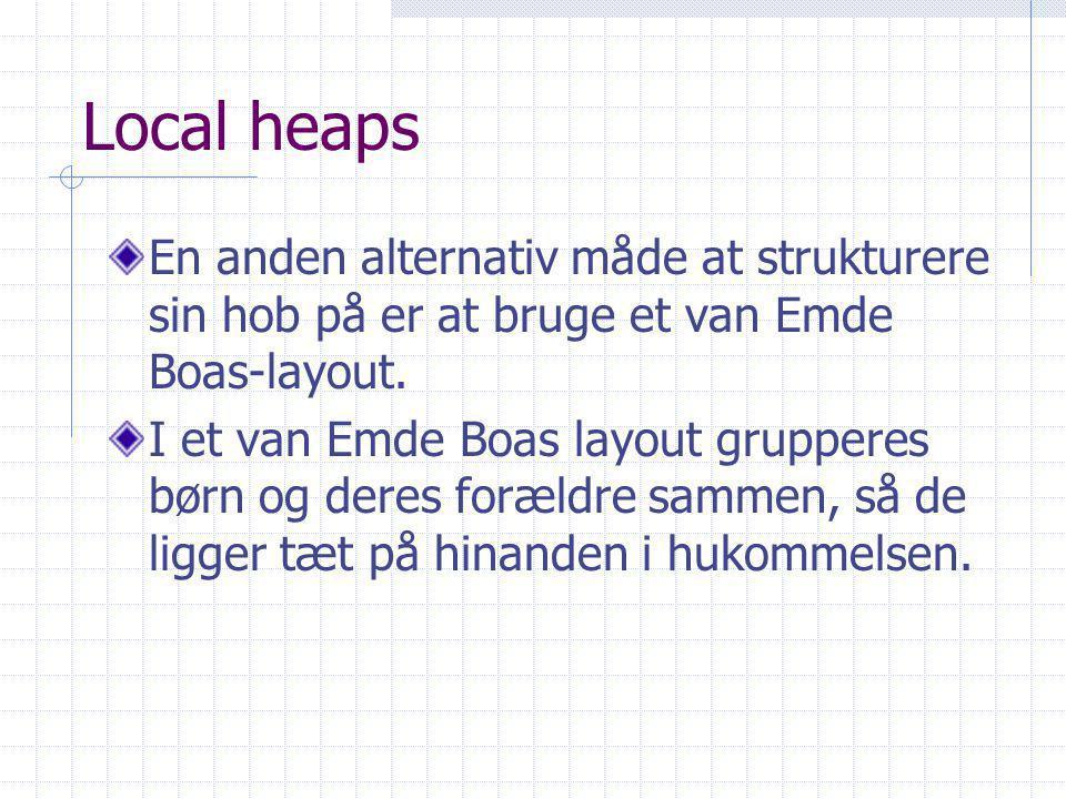 Local heaps En anden alternativ måde at strukturere sin hob på er at bruge et van Emde Boas-layout.