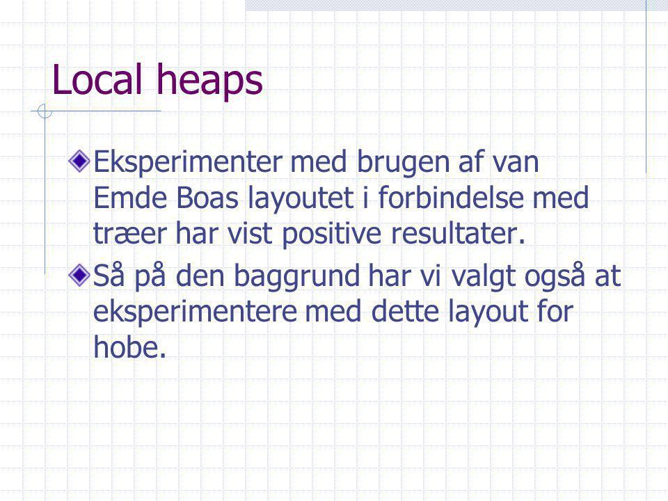 Local heaps Eksperimenter med brugen af van Emde Boas layoutet i forbindelse med træer har vist positive resultater.