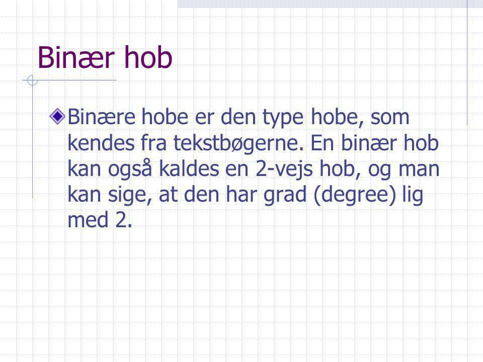 Binær hob Binære hobe er den type hobe, som kendes fra tekstbøgerne.