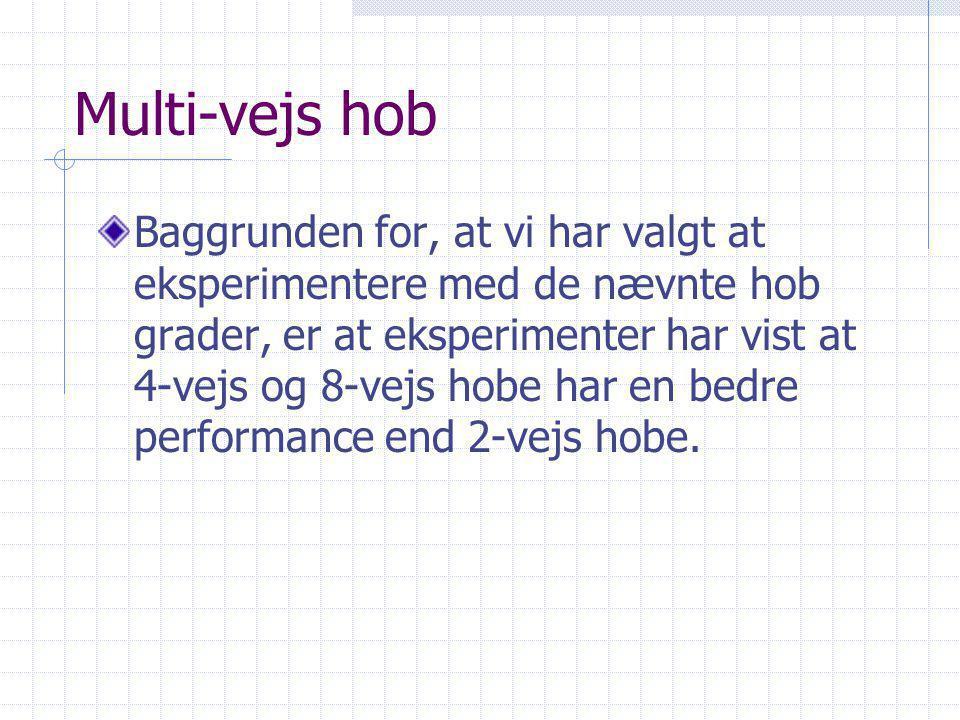 Multi-vejs hob Baggrunden for, at vi har valgt at eksperimentere med de nævnte hob grader, er at eksperimenter har vist at 4-vejs og 8-vejs hobe har en bedre performance end 2-vejs hobe.