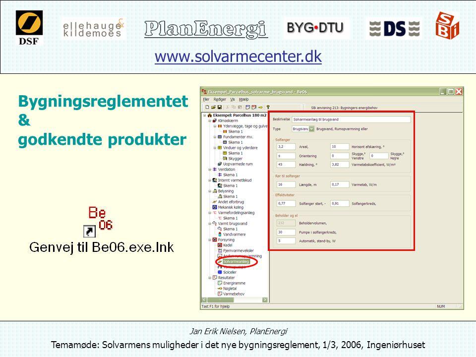 www.solvarmecenter.dk Jan Erik Nielsen, PlanEnergi Temamøde: Solvarmens muligheder i det nye bygningsreglement, 1/3, 2006, Ingeniørhuset Bygningsreglementet & godkendte produkter