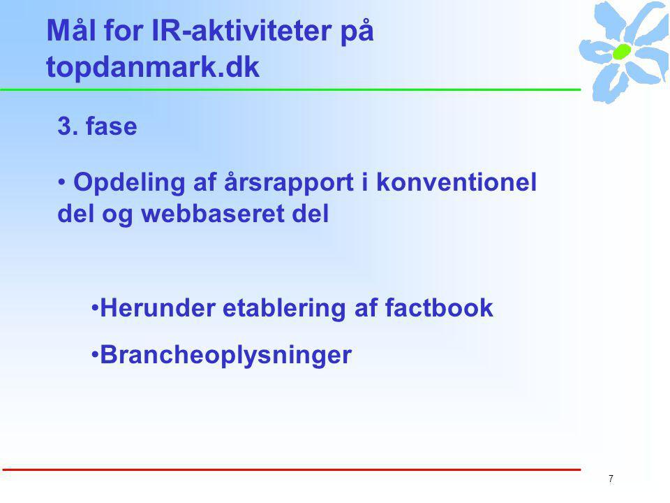 6 Mål for IR-aktiviteter på topdanmark.dk web-baseret information Kursudvikling - værdi og volumeKursudvikling Regnskabssimuleringsmodel 2.