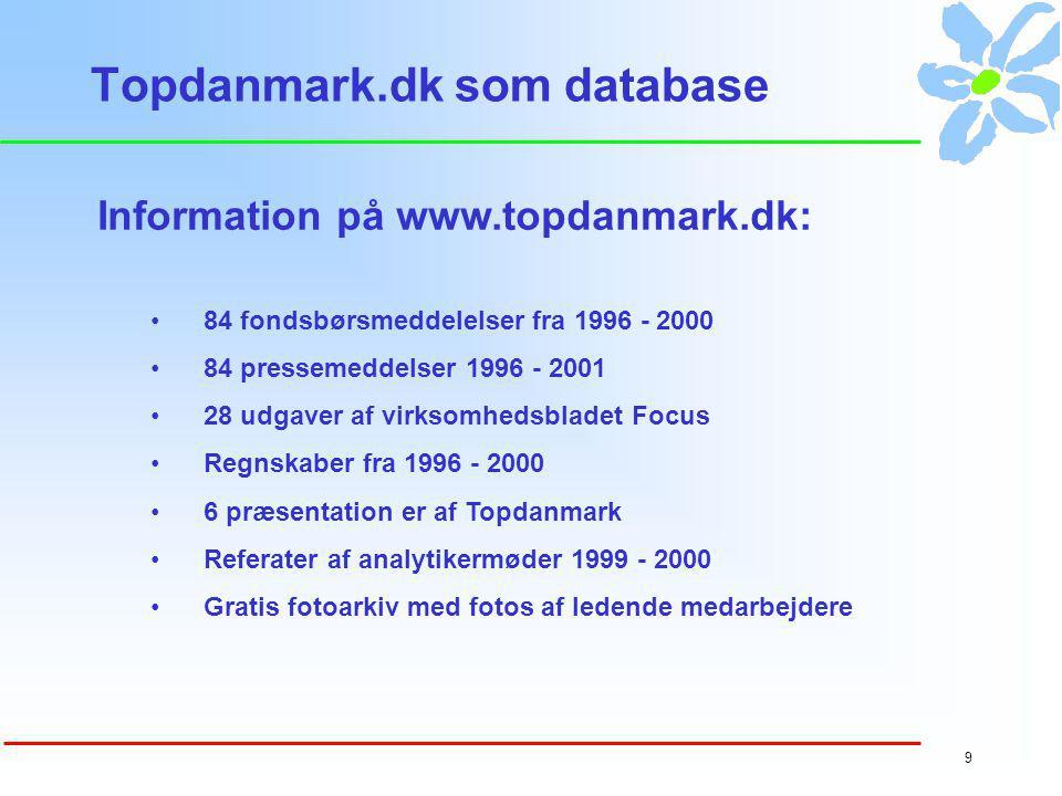 8 Markedsandele - skadeforsikring Mål for IR-aktiviteter på topdanmark.dk Markedsandele Nøgletal Præmievækst Udvikling på brancher