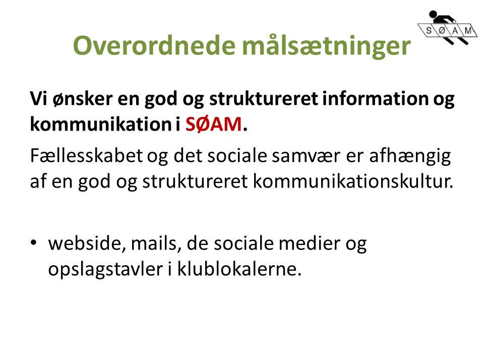 Overordnede målsætninger Vi ønsker en god og struktureret information og kommunikation i SØAM.