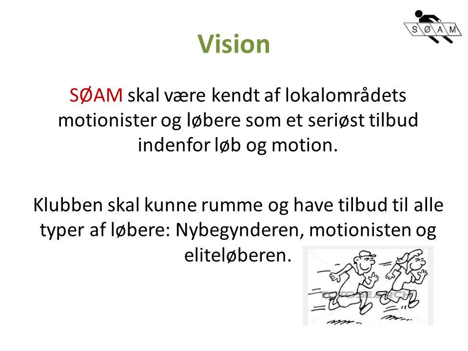 Vision SØAM skal være kendt af lokalområdets motionister og løbere som et seriøst tilbud indenfor løb og motion.