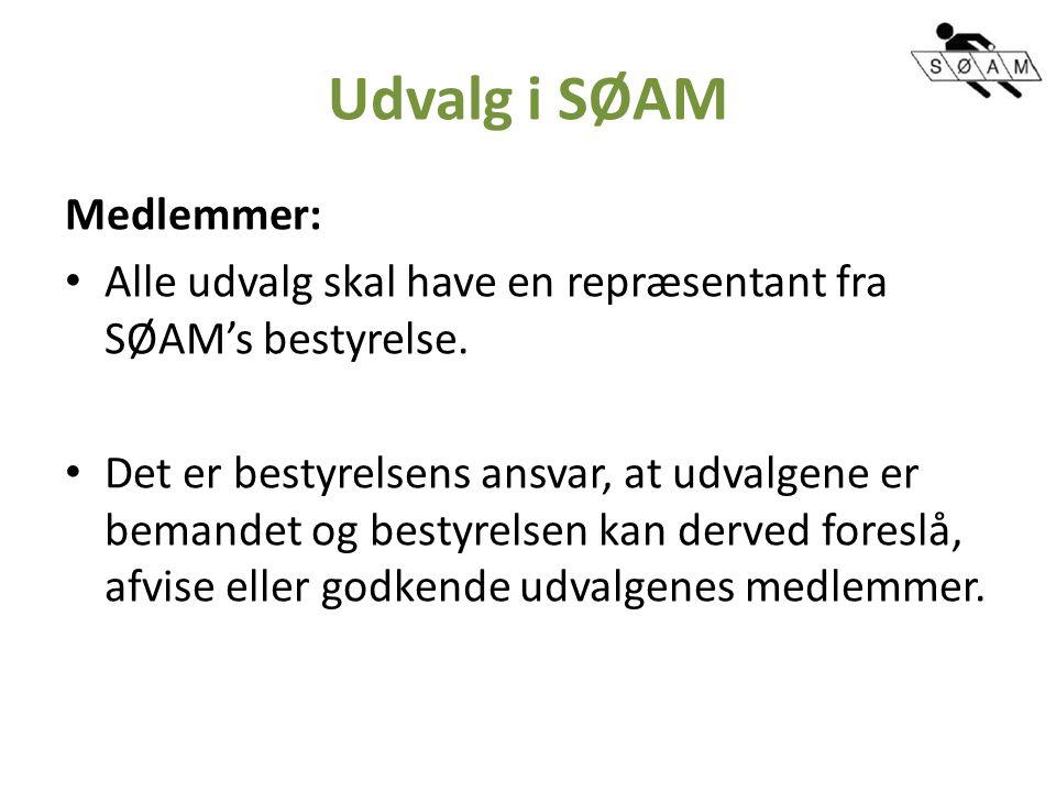 Udvalg i SØAM Medlemmer: Alle udvalg skal have en repræsentant fra SØAM's bestyrelse.