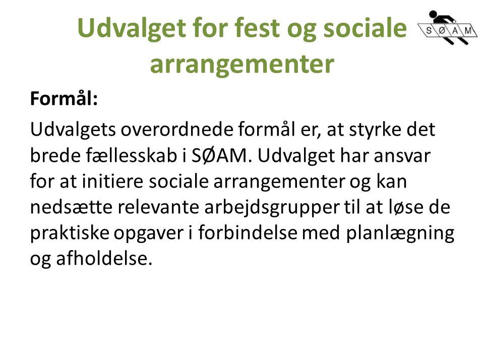 Udvalget for fest og sociale arrangementer Formål: Udvalgets overordnede formål er, at styrke det brede fællesskab i SØAM.