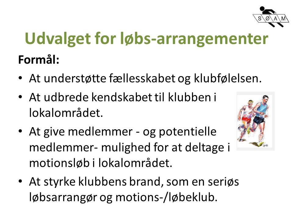 Udvalget for løbs-arrangementer Formål: At understøtte fællesskabet og klubfølelsen.